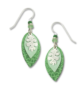 Earrings by Adajio, 3-Part Mint Green Leaves w/IR Overlay
