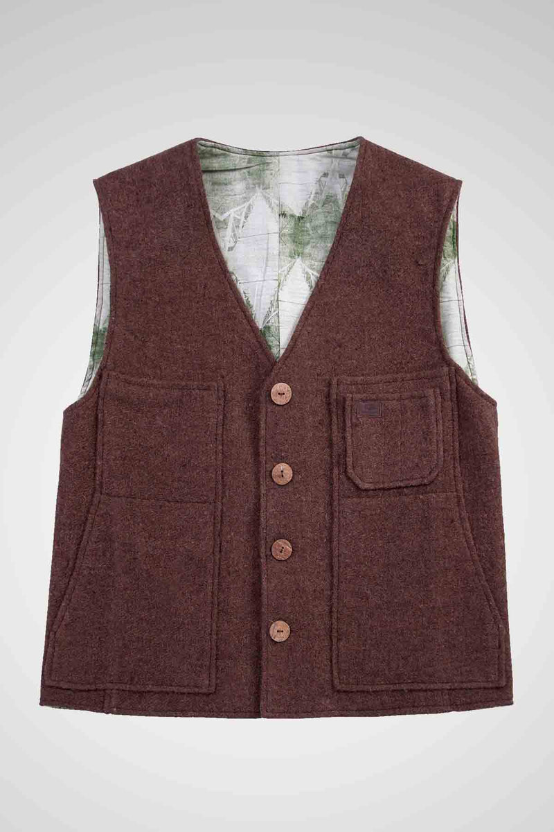 V-Neck Waist Coat - Brown