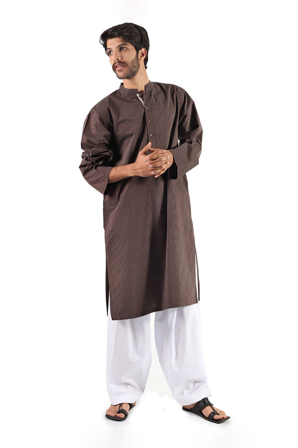 COTTON KURTA DARK BROWN - SHUBINAK.COM