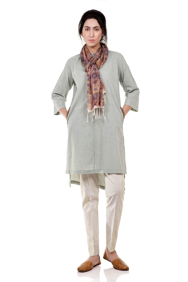 Runnel Course Kurta - Blue - SHUBINAK.COM
