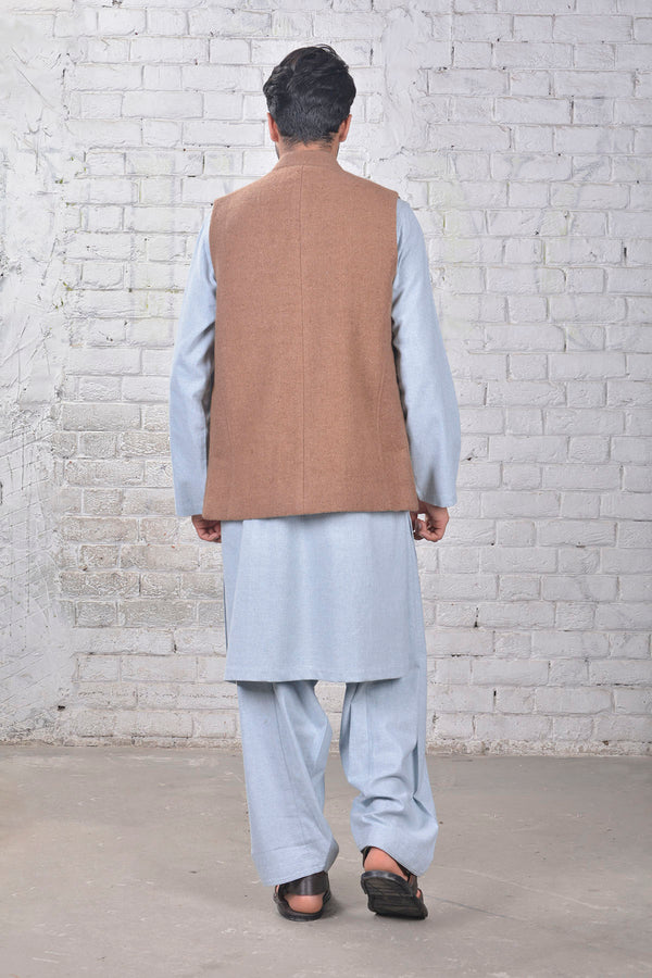 Waist Coat- Brown- SHUBINAK.COM