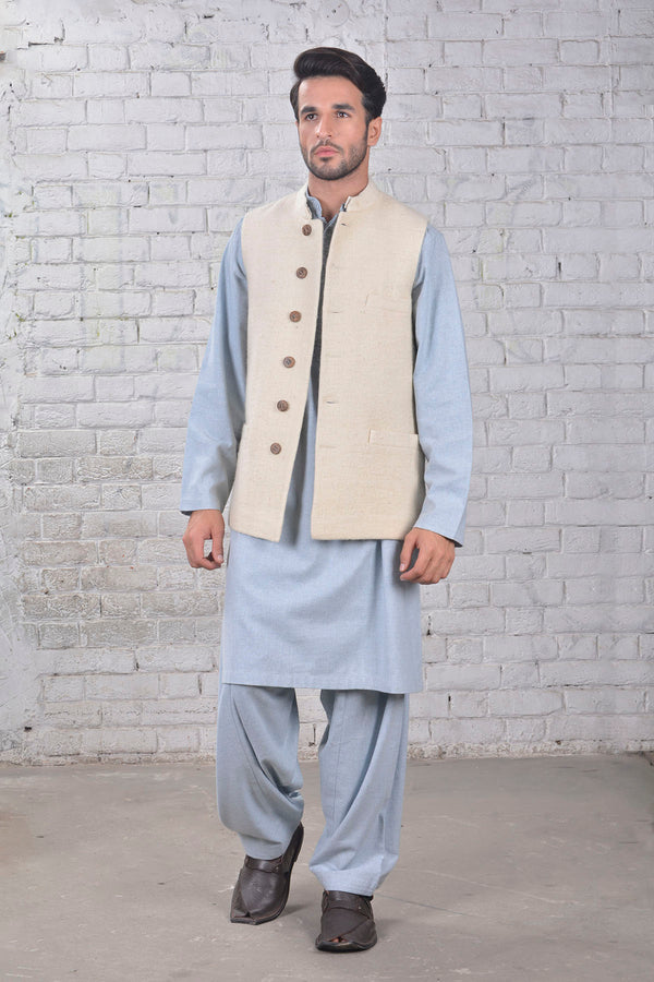 Band Collar- Waist Coat - Off White - SHUBINAK.COM