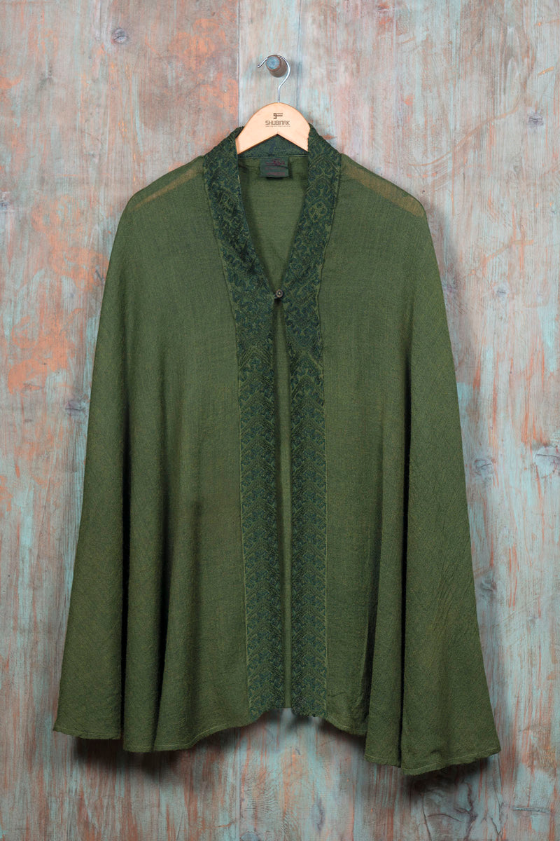 Shawl Cape-Green - SHUBINAK.COM