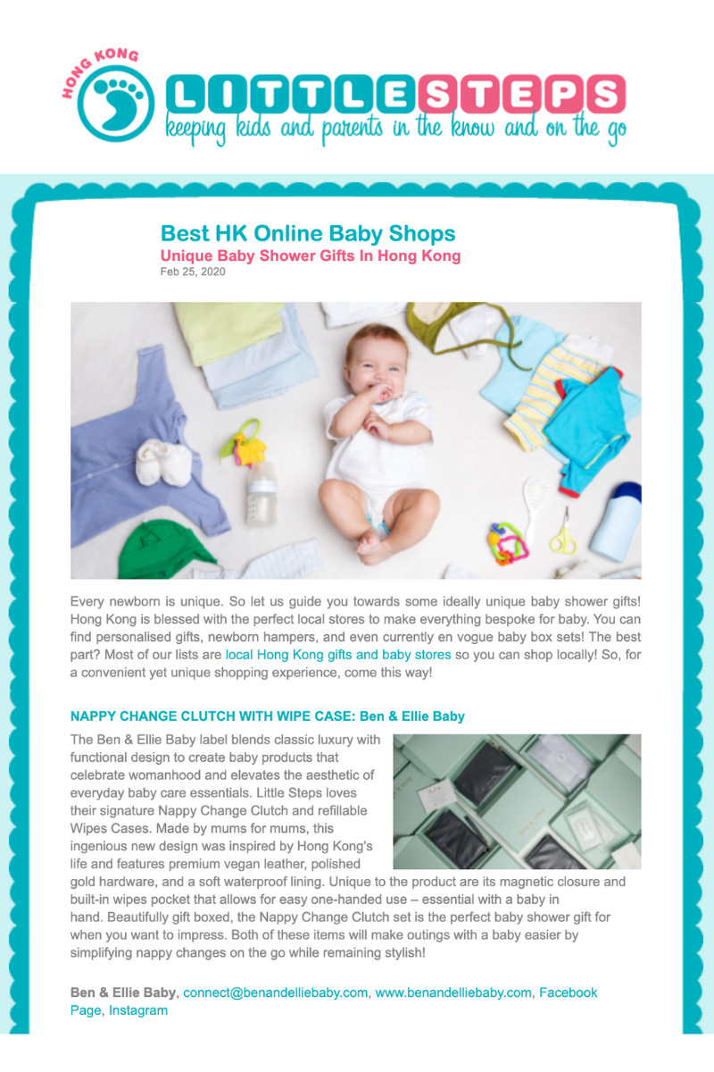 Ben & Ellie Baby Nappy Wallet featured in the Best HK Online Baby Shops Unique Baby Shower Gifts In Hong Kong article on Little Steps Asia