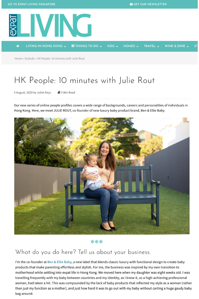 Expat Living Hong Kong article, HK People: 10 minutes with Julie Rout, co-founder of new luxury baby product brand, Ben & Ellie Baby.