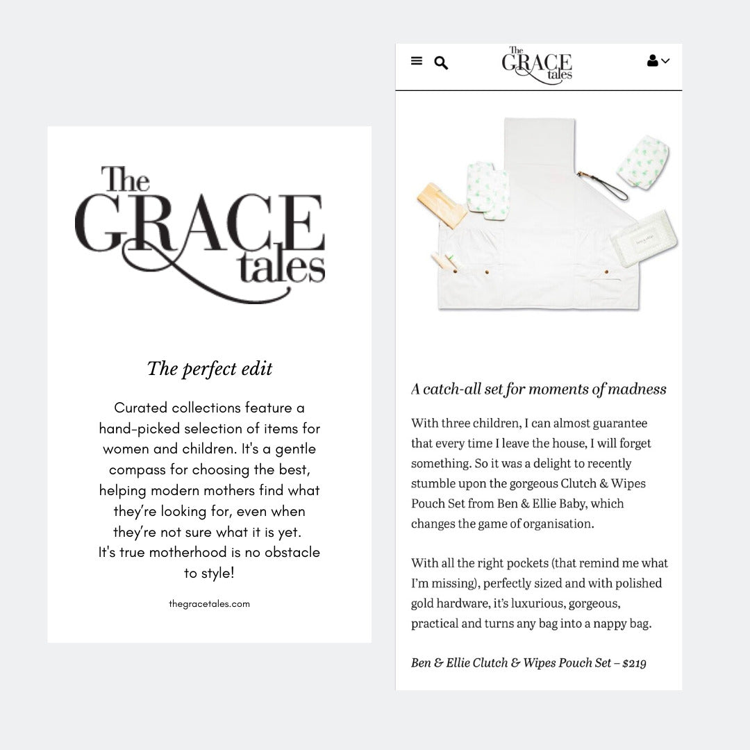 The Grace Tales, 25 November 2019, featuring the Ben & Ellie Baby Change Clutch