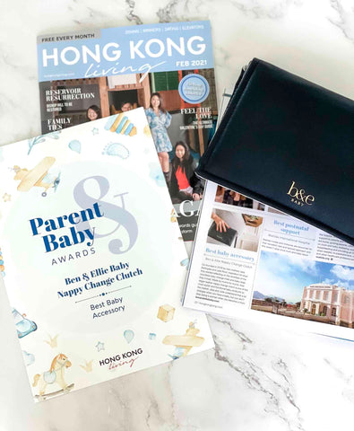 Flatlay of Hong Kong Living Best Baby Accessory Award Ben & Ellie Baby Nappy Change Clutch