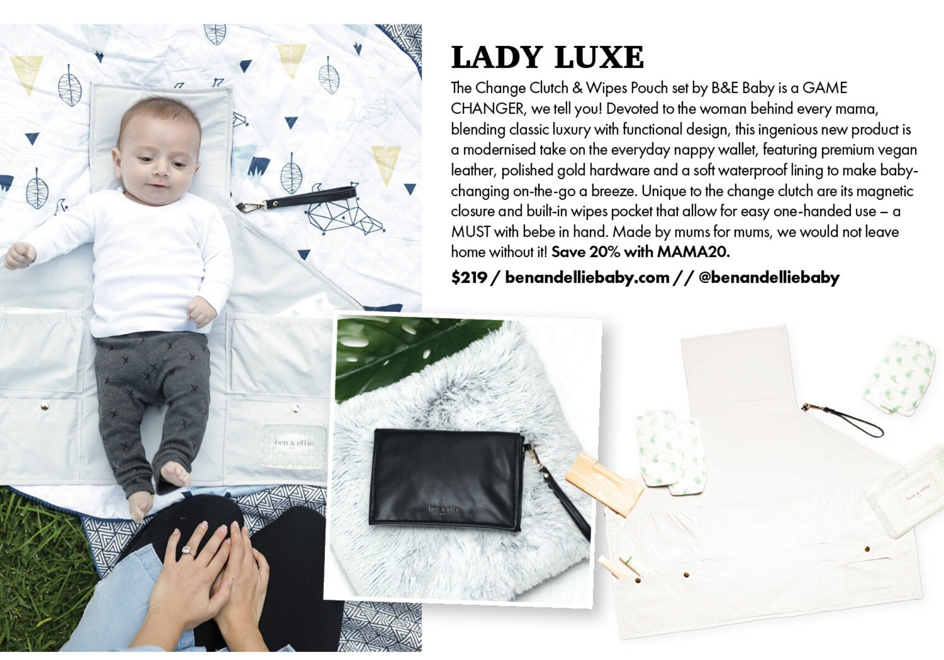 MAMA Disrupt Summer Daze Issue 2019/2020 featuring the Ben & Ellie Baby Nappy Change Clutch & Wipes Pouch Set