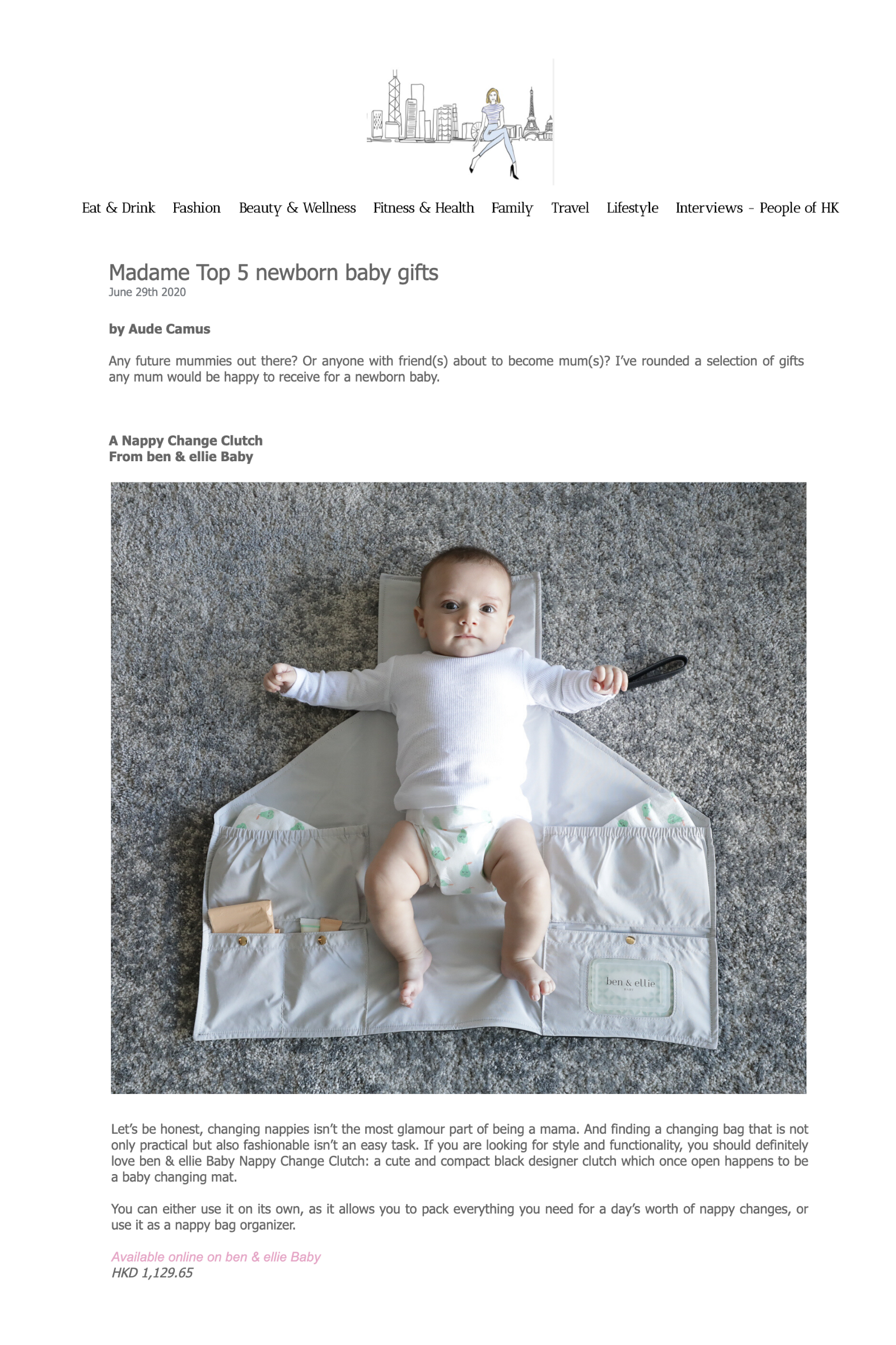 Ben & Ellie Baby Nappy Change Clutch featured in Hong Kong Madame's top 5 best baby gifts
