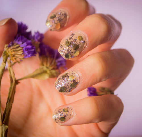 Golden Violet Nails