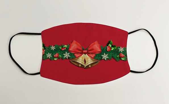 Bells and Bow Christmas Border Christmas Face Mask Face Covering