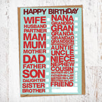 Happy Birthday Every Person Tick Box Card Blunt Cards