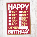 Happy Birthday Every Age Tick Box Card Blunt Cards