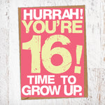 Hurrah! You're 16! Time To Grow Up Birthday Card Blunt Cards
