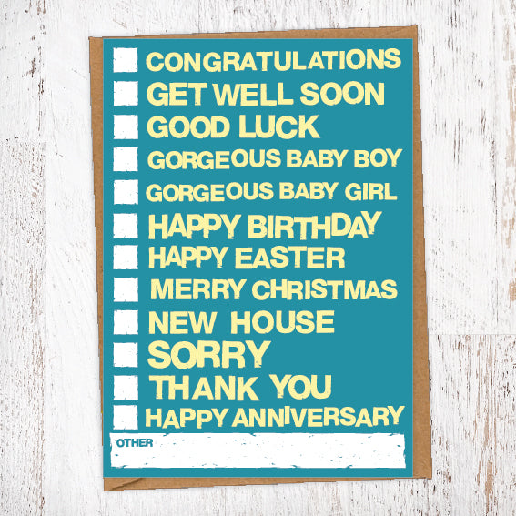 Every Occasion Tick Box Card Blunt Cards