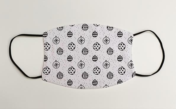 Black and White Bauble Pattern Christmas Face Mask Face Covering