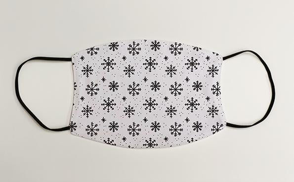 Black and White Snowflake Pattern Christmas Face Mask Face Covering