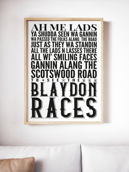 The Blaydon Races Geordie Print A5, A4, A3 A2 or A1 Sizes