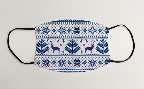 Blue & White Reindeer Christmas Jumper Christmas Face Mask Face Covering