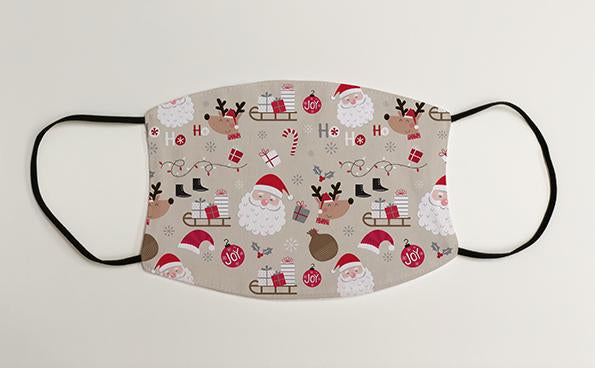Cute Santa and Rudolph Pattern Christmas Face Mask Face Covering