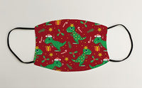 Dinosaur wrapping Paper Christmas Face Mask Face Covering