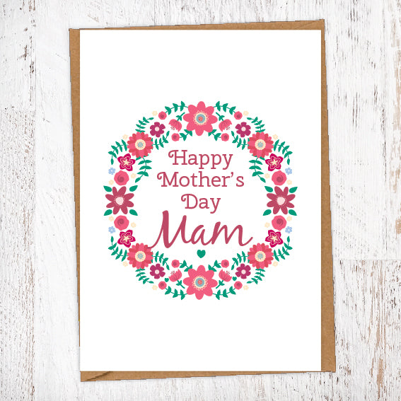 Happy Mother's Day Mam Floral Wreath Surround Geordie Mother's Day Card