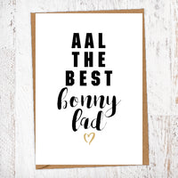 Aal The Best Bonny Lad Geordie Card Birthday Card Good Luck Card