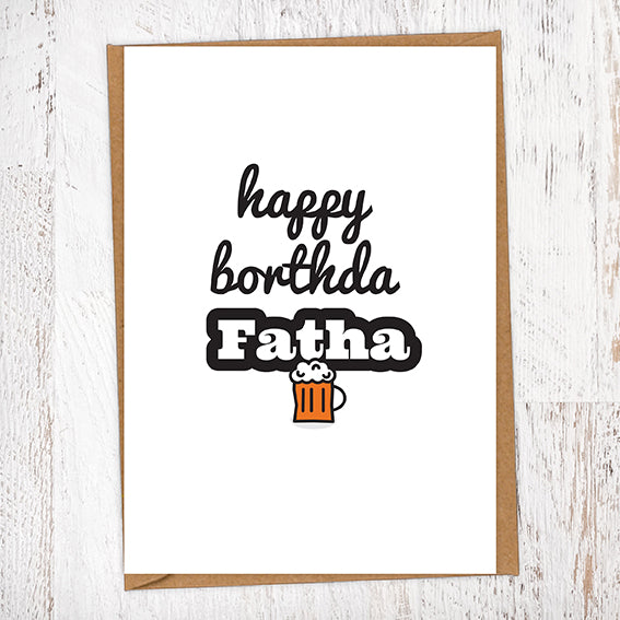 Happy Borthda Fatha Pint of Beer Birthday Card