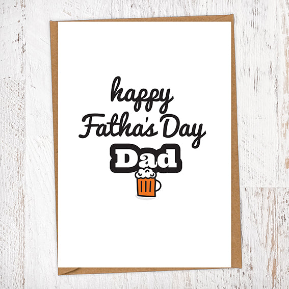 Happy Fatha's Day Dad Pint Geordie Father's Day Card