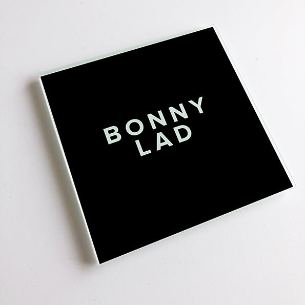 Bonny Lad Black and White Geordie Glass Coaster