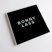 Bonny Lass Black and White Geordie Glass Coaster