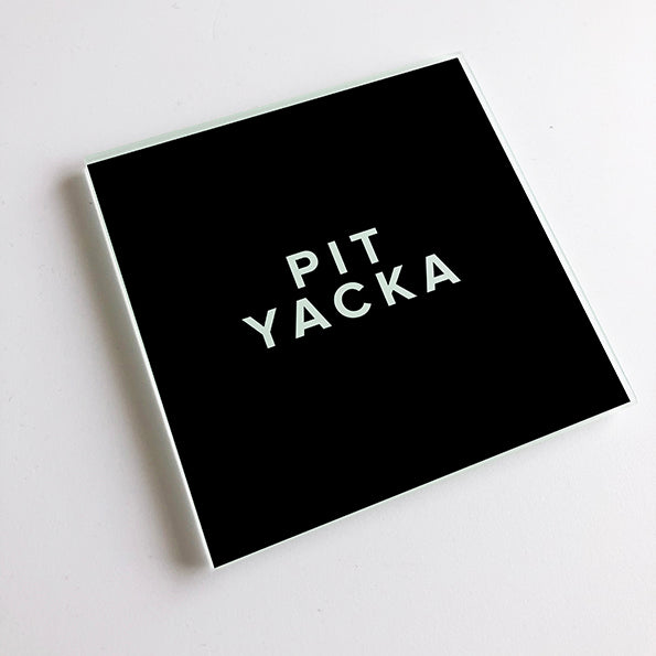Pit Yacka Black and White Geordie Glass Coaster