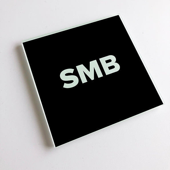 SMB Black and White Geordie Glass Coaster