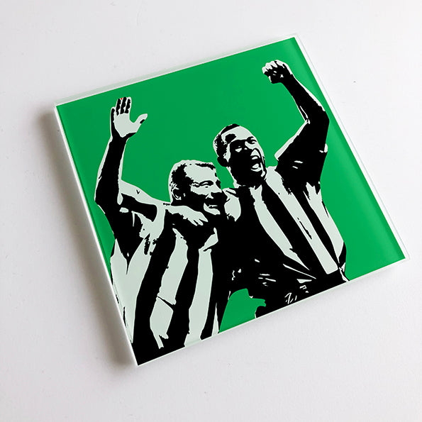 Alan Shearer and Les Ferdinand NUFC Glass Coaster