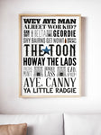 Geordie Lingo Print A5, A4, A3 A2 or A1 Sizes