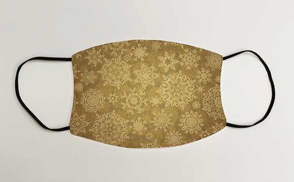 Gold Snowflakes Christmas Face Mask Face Covering