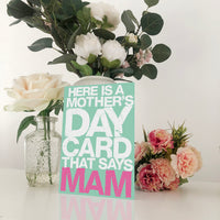 Mother's Day Card That Says Mam Mother's Day Card Blunt Cards