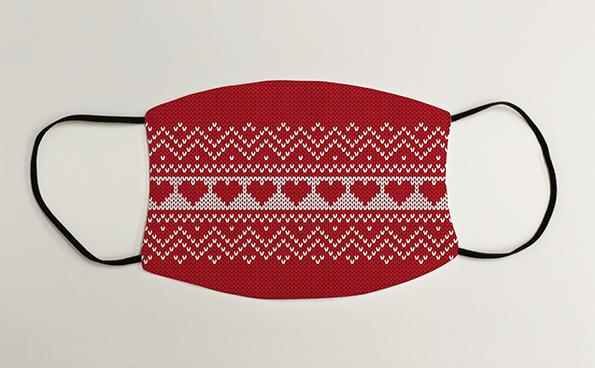 Red and White Hearts Christmas Jumper Christmas Face Mask Face Covering