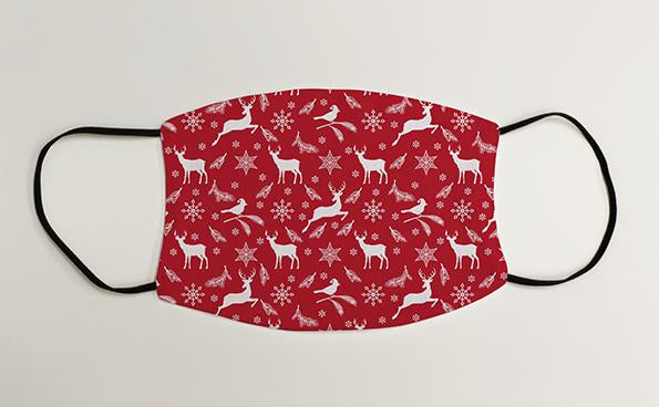 Reindear Robins and Snowflakes Wrapping Paper Christmas Face Mask Face Covering