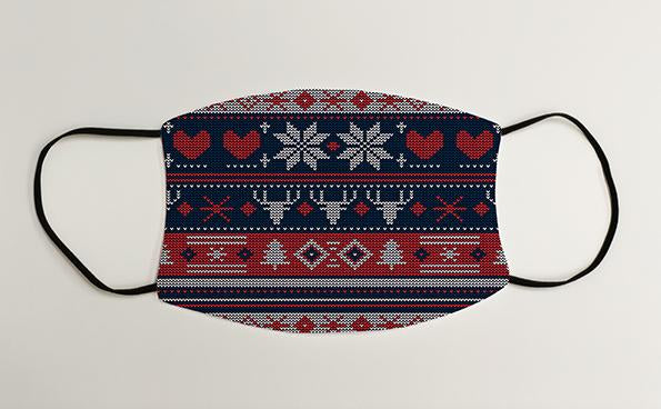 Reindeer Snowflake Heart Christmas Jumper Christmas Face Mask Face Covering