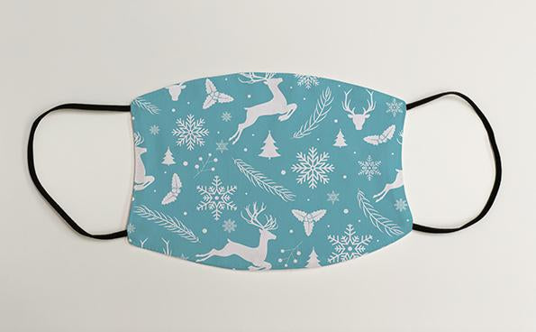 Reindeer & Snowflakes Pattern Christmas Face Mask Face Covering