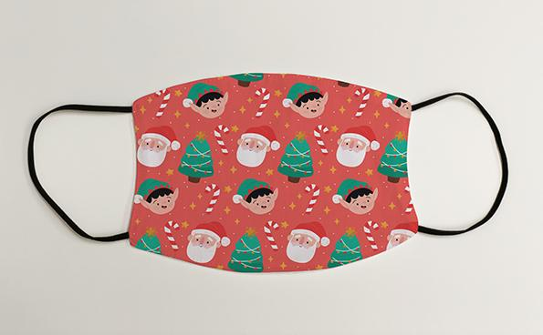 Santa Elves and Christmas Trees Wrapping Paper Christmas Face Mask Face Covering