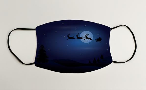 Santa in the Night Sky Christmas Face Mask Face Covering