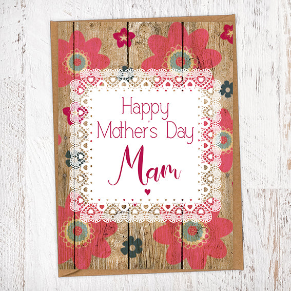 Happy Mother's Day Mam Flowers on Wood Background Geordie Mother's Day Card