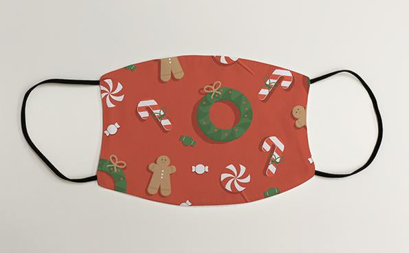 Wreath and Gingerbread Man Christmas Face Mask Face Covering