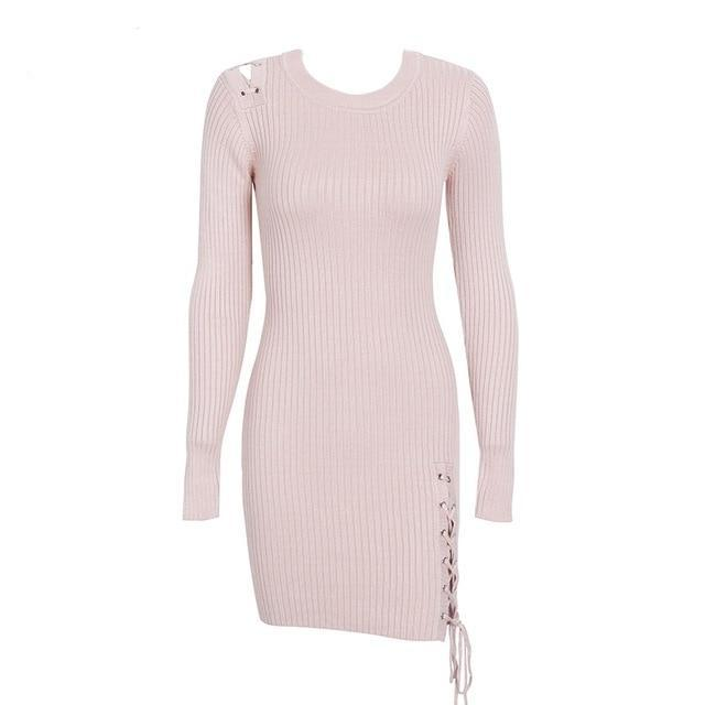 ... Sexy Classy Split Lace Up Slim Skinny Knitted Fall 2018 Sweater Dress  ...
