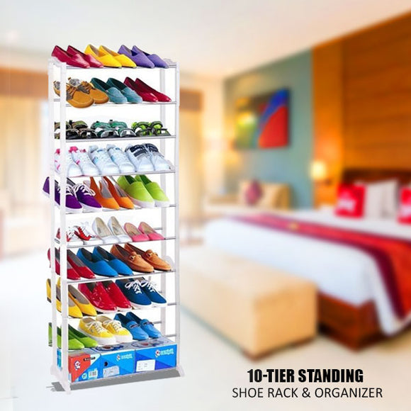 Amazing 10 Tier Standing Shoe Rack & Organizer (0040)