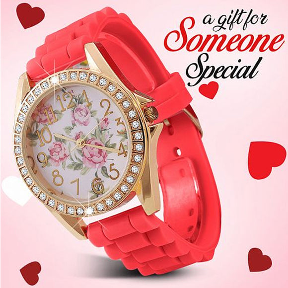 Geneva Fashionable Floral Dial Crystal Studded Bezel Analog Silicone Band Watch for Women, 8806, Red