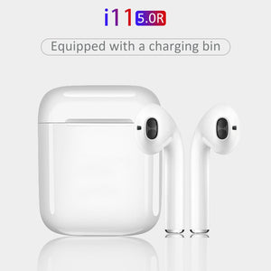 New i11 5.0 TWS True Wireless Bluetooth Stereo Headset with Charging Case, White