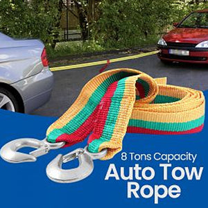 King Tools Auto Tow Rope Width 7.5 Cm Length 4 M, 8 Tons, Multicolor